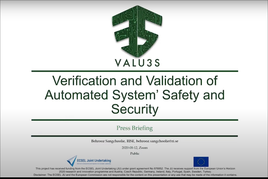 Screenshot VALU3S introductory presentation